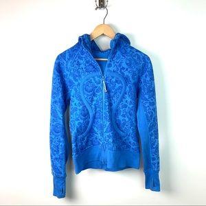 Lululemon Blue Paisley Scuba Zip Up Sweatshirt